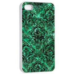 Damask1 Black Marble & Green Marble Apple Iphone 4/4s Seamless Case (white)