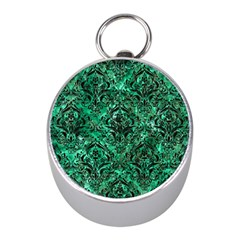 Damask1 Black Marble & Green Marble Silver Compass (mini)