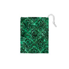 Damask1 Black Marble & Green Marble Drawstring Pouch (xs)