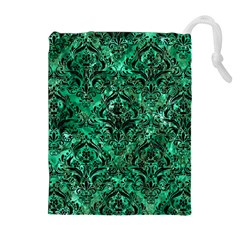Damask1 Black Marble & Green Marble Drawstring Pouch (xl)