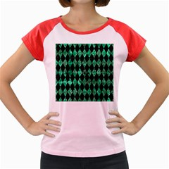 Diamond1 Black Marble & Green Marble Women s Cap Sleeve T Shirt