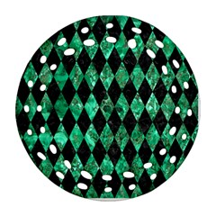 Diamond1 Black Marble & Green Marble Round Filigree Ornament (two Sides)