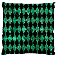 Diamond1 Black Marble & Green Marble Standard Flano Cushion Case (two Sides)