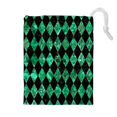 Diamond1 Black Marble & Green Marble Drawstring Pouch (xl)