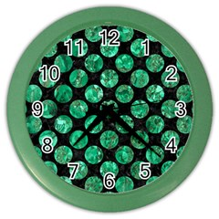 Circles2 Black Marble & Green Marble (r) Color Wall Clock
