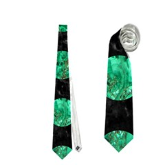 Circles2 Black Marble & Green Marble (r) Necktie (one Side)