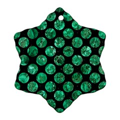 Circles2 Black Marble & Green Marble (r) Snowflake Ornament (two Sides)