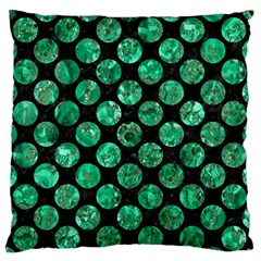 Circles2 Black Marble & Green Marble (r) Large Flano Cushion Case (two Sides)