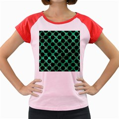 Circles2 Black Marble & Green Marble Women s Cap Sleeve T Shirt