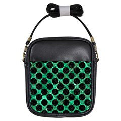 Circles2 Black Marble & Green Marble Girls Sling Bag