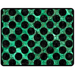 Circles2 Black Marble & Green Marble Fleece Blanket (medium)