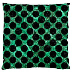 Circles2 Black Marble & Green Marble Standard Flano Cushion Case (one Side)