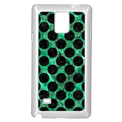 Circles2 Black Marble & Green Marble Samsung Galaxy Note 4 Case (white)