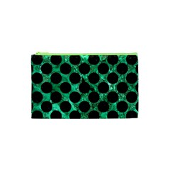 Circles2 Black Marble & Green Marble Cosmetic Bag (xs)