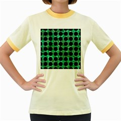 Circles1 Black Marble & Green Marble Women s Fitted Ringer T Shirt