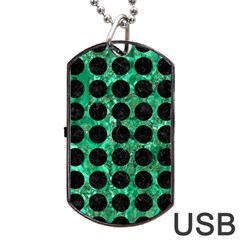 Circles1 Black Marble & Green Marble Dog Tag Usb Flash (two Sides)