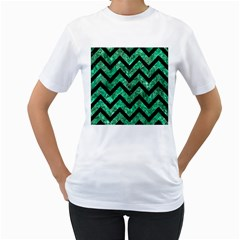 Chevron9 Black Marble & Green Marble (r) Women s T Shirt (white) (two Sided)
