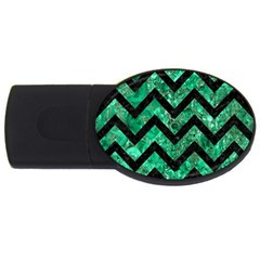 Chevron9 Black Marble & Green Marble (r) Usb Flash Drive Oval (4 Gb)