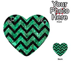 Chevron9 Black Marble & Green Marble (r) Playing Cards 54 (heart)