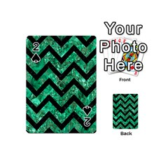Chevron9 Black Marble & Green Marble (r) Playing Cards 54 (mini)