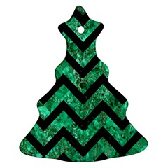 Chevron9 Black Marble & Green Marble (r) Christmas Tree Ornament (two Sides)