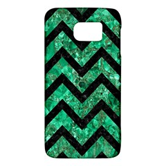 Chevron9 Black Marble & Green Marble (r) Samsung Galaxy S6 Hardshell Case