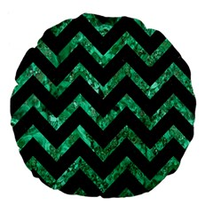 Chevron9 Black Marble & Green Marble Large 18  Premium Flano Round Cushion