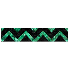 Chevron9 Black Marble & Green Marble Flano Scarf (small)