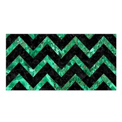 Chevron9 Black Marble & Green Marble Satin Shawl