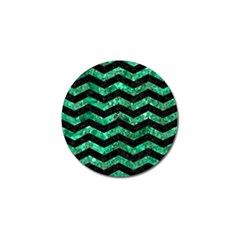 Chevron3 Black Marble & Green Marble Golf Ball Marker