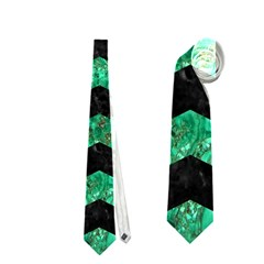 Chevron3 Black Marble & Green Marble Necktie (two Side)