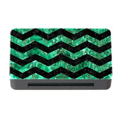 Chevron3 Black Marble & Green Marble Memory Card Reader With Cf