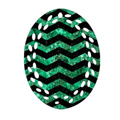 Chevron3 Black Marble & Green Marble Oval Filigree Ornament (two Sides)
