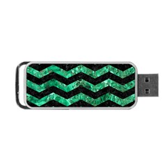 Chevron3 Black Marble & Green Marble Portable Usb Flash (two Sides)