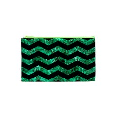 Chevron3 Black Marble & Green Marble Cosmetic Bag (xs)