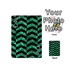 Chevron2 Black Marble & Green Marble Playing Cards 54 (mini)