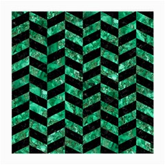 Chevron1 Black Marble & Green Marble Medium Glasses Cloth (2 Sides)
