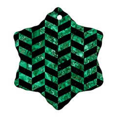 Chevron1 Black Marble & Green Marble Snowflake Ornament (two Sides)
