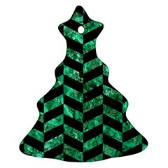 Chevron1 Black Marble & Green Marble Christmas Tree Ornament (two Sides)