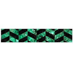 Chevron1 Black Marble & Green Marble Flano Scarf (large)