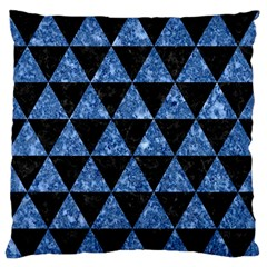 Triangle3 Black Marble & Blue Marble Large Flano Cushion Case (one Side)