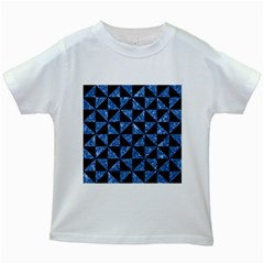Triangle1 Black Marble & Blue Marble Kids White T Shirt