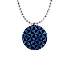 Triangle1 Black Marble & Blue Marble 1  Button Necklace
