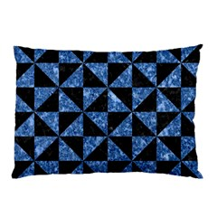 Triangle1 Black Marble & Blue Marble Pillow Case (two Sides)