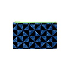 Triangle1 Black Marble & Blue Marble Cosmetic Bag (xs)