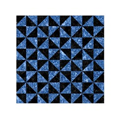 Triangle1 Black Marble & Blue Marble Small Satin Scarf (square)