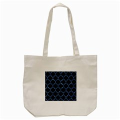 Tile1 Black Marble & Blue Marble (r) Tote Bag (cream)