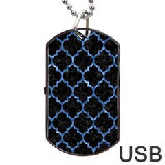 Tile1 Black Marble & Blue Marble (r) Dog Tag Usb Flash (one Side)