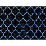 TILE1 BLACK MARBLE & BLUE MARBLE (R) Circle 3D Greeting Card (7x5) Front