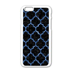 Tile1 Black Marble & Blue Marble (r) Apple Iphone 6/6s White Enamel Case